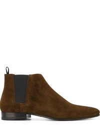 Botas de ante en marrón oscuro de Saint Laurent