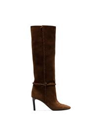 Botas de caña alta de ante en marrón oscuro de Saint Laurent