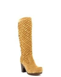 Botas de caña alta de ante marrón claro