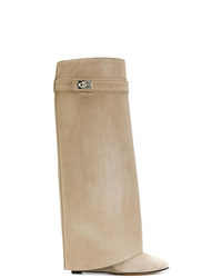 Botas de caña alta de ante marrón claro de Givenchy