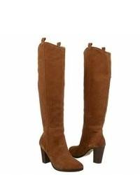 Botas de caña alta de ante marrónes