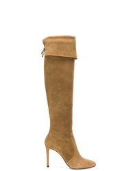 Botas de caña alta de ante marrónes de Prada