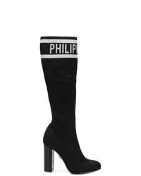 Botas de caña alta de ante negras de Philipp Plein