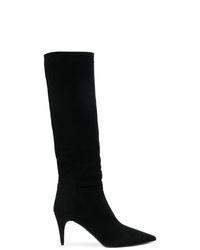 Botas de caña alta de ante negras de Prada