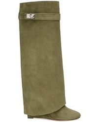 Botas de caña alta de ante verde oliva de Givenchy
