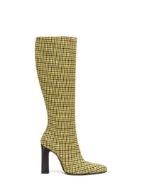 Botas de caña alta de cuero amarillas de Balenciaga