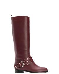 Botas de caña alta de cuero burdeos de RED Valentino