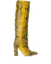 Botas de caña alta de cuero con print de serpiente amarillas de Paris Texas