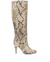 Botas de caña alta de cuero con print de serpiente en beige de Tommy Hilfiger