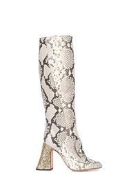 Botas de caña alta de cuero con print de serpiente grises de Rochas