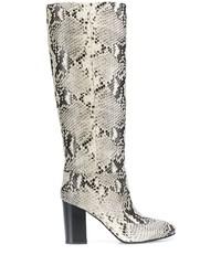 Botas de caña alta de cuero con print de serpiente grises de Twin-Set