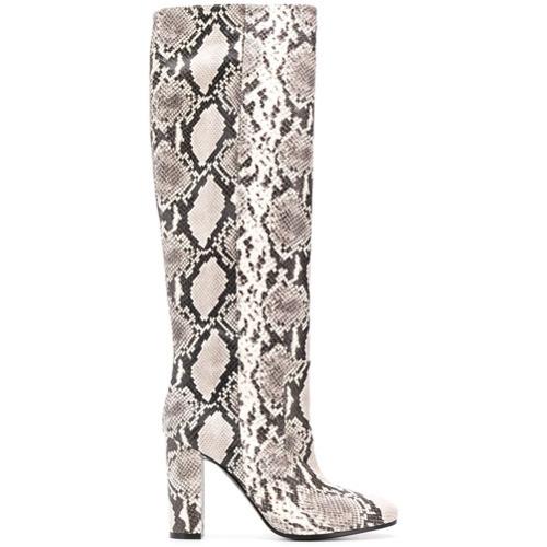 e16553aa971 ... Botas de caña alta de cuero con print de serpiente grises de Via Roma  15 ...