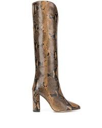 Botas de caña alta de cuero con print de serpiente marrónes de Paris Texas