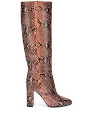 Botas de caña alta de cuero con print de serpiente rosadas de Twin-Set