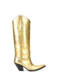 Botas de caña alta de cuero doradas de Maison Margiela
