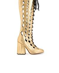 Botas de caña alta de cuero doradas de Marni