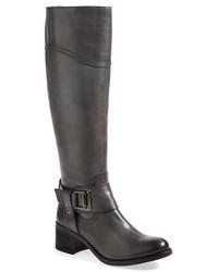 Botas de caña alta de cuero en gris oscuro