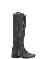 Botas de caña alta de cuero en gris oscuro de Golden Goose Deluxe Brand