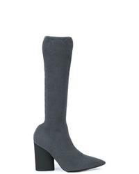 Botas de caña alta de cuero en gris oscuro de Yeezy