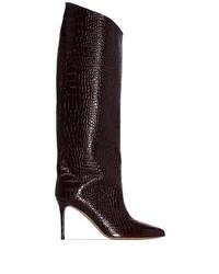 Botas de caña alta de cuero en marrón oscuro de Alexandre Vauthier