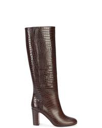 Botas de caña alta de cuero en marrón oscuro de Aquazzura