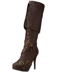 Botas de caña alta de cuero en marrón oscuro de Ellie Shoes