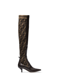 Botas de caña alta de cuero en marrón oscuro de Fendi