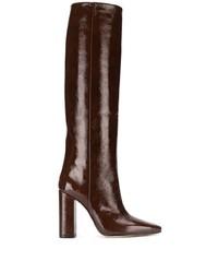 Botas de caña alta de cuero en marrón oscuro de Paris Texas