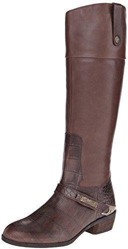 Botas de caña alta de cuero en marrón oscuro de Sam Edelman
