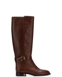 Botas de caña alta de cuero en marrón oscuro de Tory Burch