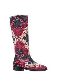 Botas de caña alta de cuero en multicolor de Leandra Medine