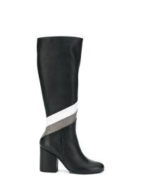 Botas de caña alta de cuero en negro y blanco de Paloma Barceló