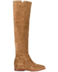 Botas de caña alta de cuero marrón claro de Ash
