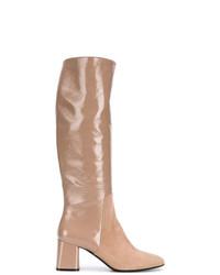 Botas de caña alta de cuero marrón claro de Casadei