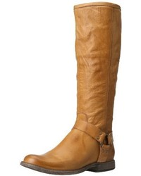 Botas de caña alta de cuero marrón claro de Frye