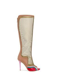Botas de caña alta de cuero marrón claro de Malone Souliers