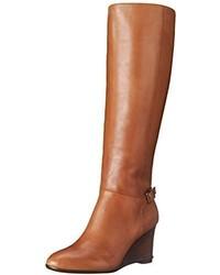 Botas de caña alta de cuero marrón claro de Ralph Lauren