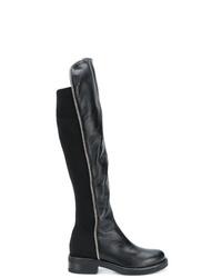 Botas de caña alta de cuero negras de Albano