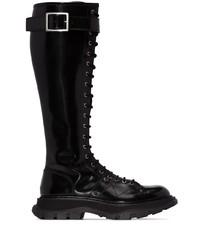Botas de caña alta de cuero negras de Alexander McQueen