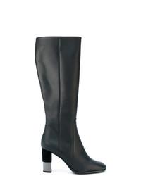 Botas de caña alta de cuero negras de Baldinini