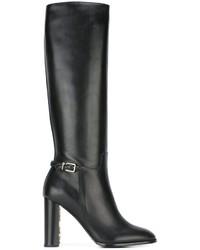 Botas de caña alta de cuero negras de Burberry