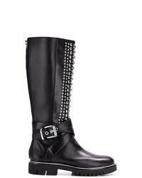 Botas de caña alta de cuero negras de DKNY