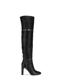 Botas de caña alta de cuero negras de Giuseppe Zanotti Design