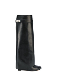 Botas de caña alta de cuero negras de Givenchy