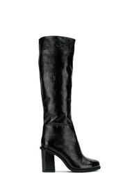 Botas de caña alta de cuero negras de Lanvin