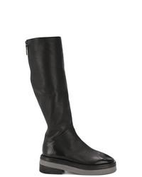 Botas de caña alta de cuero negras de Marsèll