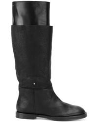 Botas de caña alta de cuero negras de MM6 MAISON MARGIELA