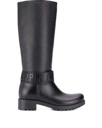 Botas de caña alta de cuero negras de Philipp Plein
