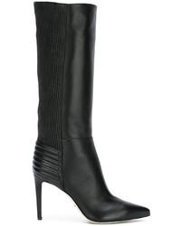 Botas de caña alta de cuero negras de Sergio Rossi