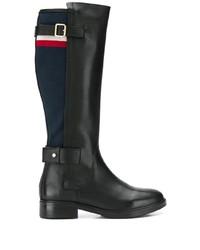 Botas de caña alta de cuero negras de Tommy Hilfiger